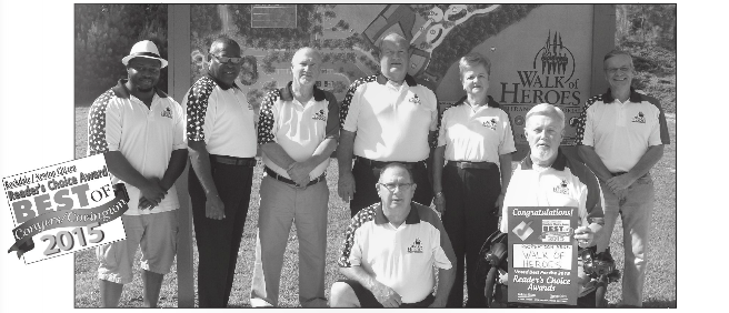 Accepting the 2015 Reader's Choice Award for #1 Recreation Area is the Walk of Heroes Board of Directors. Left to Right. Front Row Bob Atkinson, Tommy Clack. Back Row Quontavious Miles, Charles King, Pete Mecca, Buddy Roebuck, Jessie Brown, Cal Reuping. Not pictured Darin Riggs, Richard Oden, Norman Wheeler.